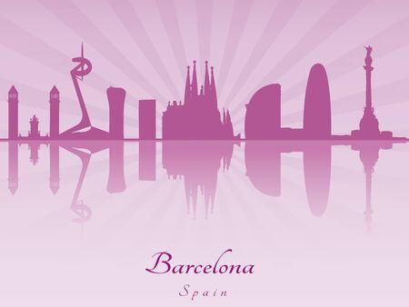 Barcelona skyline in purple radiant orchid in editable vector file Vector