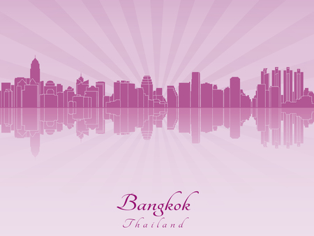 bangkok city: Bangkok skyline in purple radiant orchid in editable vector file