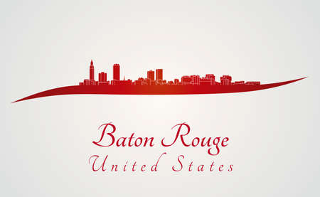 baton rouge: Baton Rouge skyline in red and gray background in editable vector file