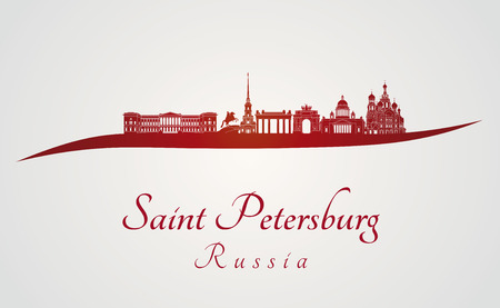 saint petersburg: Saint Petersburg skyline in red and gray background in editable vector file