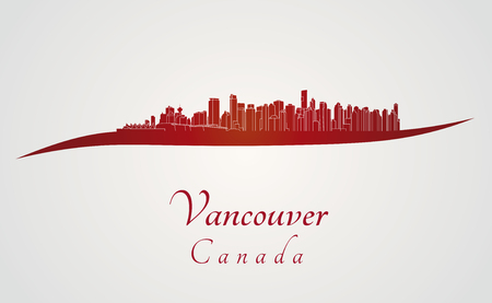 Vancouver skyline in red and gray background in editable vector file Vector