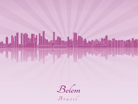 belem: Belem skyline in purple radiant orchid in editable vector file