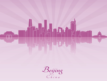 beijing: Beijing skyline in purple radiant orchid in editable vector file