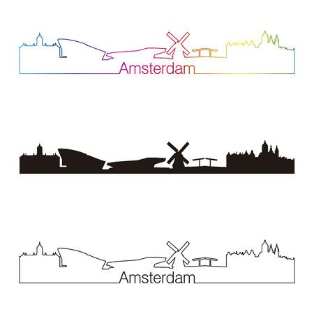 Amsterdam skyline lineaire stijl met een regenboog in bewerkbare vector-bestand Stock Illustratie
