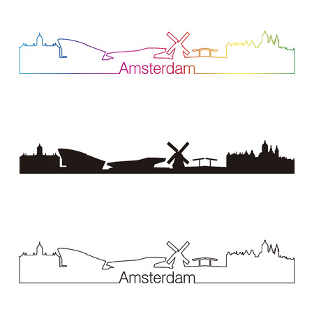 netherlands: Amsterdam skyline linear style with rainbow in editable vector file Illustration