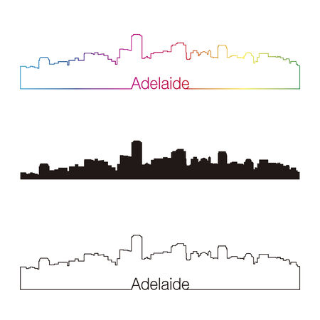 adelaide: Adelaide skyline linear style with rainbow in editable vector file Illustration