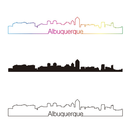 Albuquerque skyline linear style with rainbow in editable vector file Vector