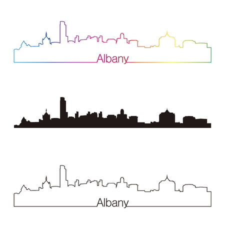 albany: Albany skyline linear style with rainbow in editable vector file