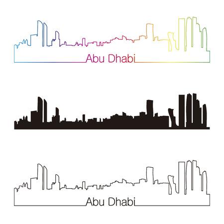 cityscape silhouette: Abu Dhabi skyline linear style with rainbow in editable vector file