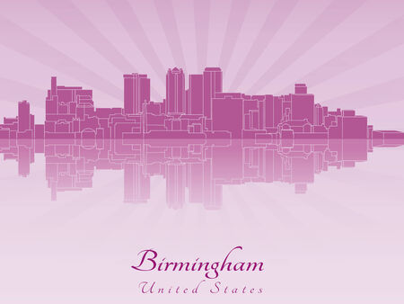 birmingham: Birmingham AL skyline in purple radiant orchid in editable vector file