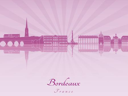 Bordeaux skyline in purple radiant orchid in editable vector file