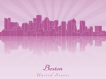 Boston skyline in purple radiant orchid in editable vector file Vector