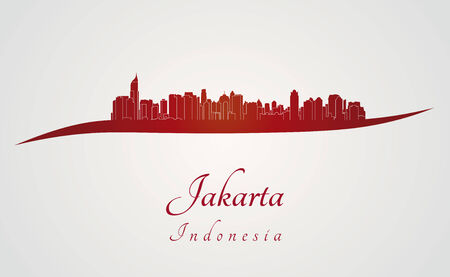 Jakarta Skyline in red and gray background in editable vector file