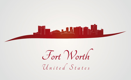 Fort Worth skyline in red and gray background in editable vector file Vector