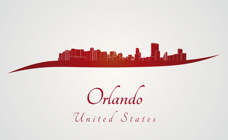 Orlando skyline in red and gray background in editable vector file Vector