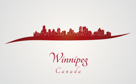 winnipeg: Winnipeg skyline in red and gray background in editable vector file