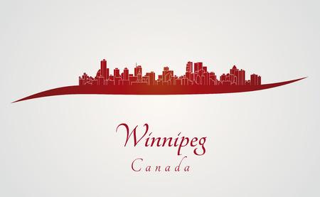 winnipeg: Winnipeg skyline in red and gray background in editable vector file