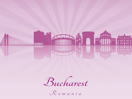 Bucharest skyline in purple radiant orchid in editable vector file