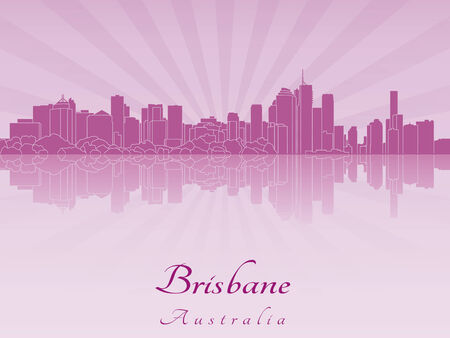 radiant: Brisbane skyline in purple radiant orchid in editable vector file