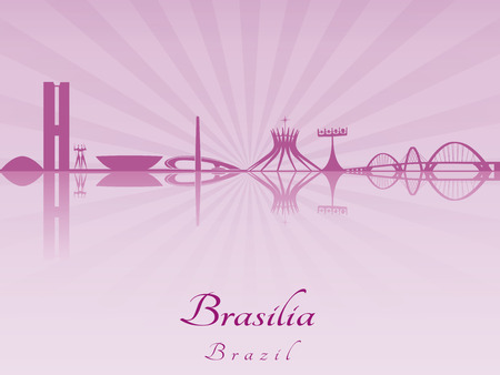 brasilia: Brasilia skyline in purple radiant orchid in editable vector file