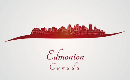 Edmonton skyline in red and gray background Vector