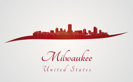 Milwaukee skyline in red and gray background