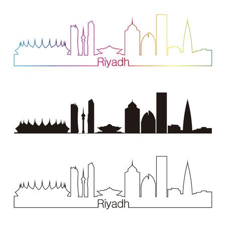 Riyad le style horizon linéaire avec arc en ciel Vecteurs