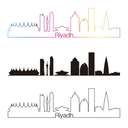 saudi arabia: Riyadh skyline linear style with rainbow