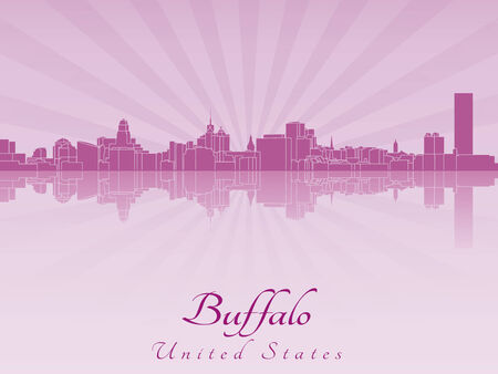 Buffalo skyline in purple radiant orchid in editable file Vector