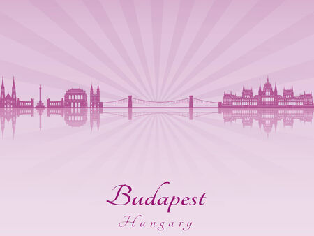 radiant: Budapest skyline in purple radiant orchid in editable file