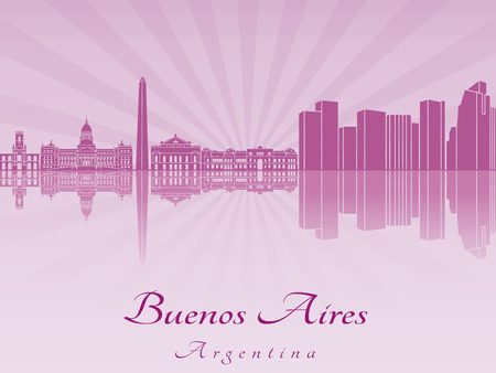 aires: Buenos Aires skyline in purple radiant orchid in editable
