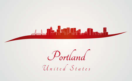 portland oregon: Portland skyline in red and gray in editable file