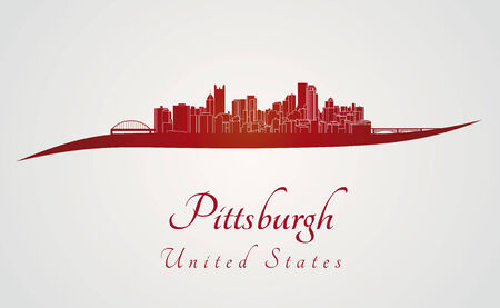 Pittsburgh skyline in red and gray in editable file Vector