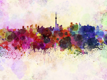 Toronto skyline in watercolor