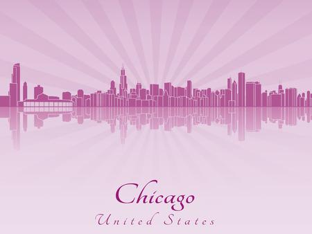 編集可能なベクトル ファイルで紫色を放射した蘭のシカゴのスカイライン