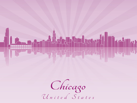 Chicago skyline in purple radiant orchid in editable vector file Illustration