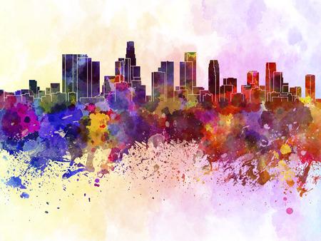水彩画背景でロサンゼルスのスカイライン 写真素材