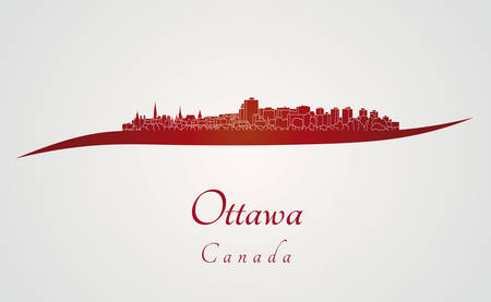 Ottawa skyline in red and gray background in editable vector file Vector