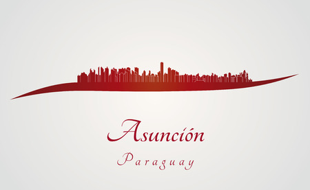 paraguay: Asuncion skyline in red and gray background in editable vector file Illustration