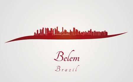 belem: Belem skyline in red and gray background in editable vector file
