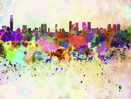 tel: Tel Aviv skyline in watercolor background Stock Photo