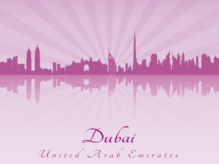 Dubai skyline in purple radiant orchid in editable vector file Vector