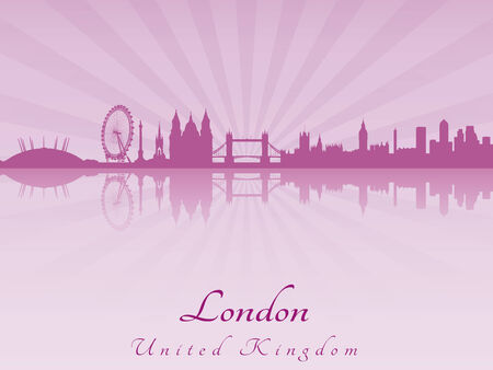 london skyline: London skyline in purple radiant orchid in editable vector file