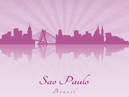 Sao Paulo skyline in purple radiant orchid in editable vector file