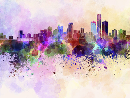 Detroit skyline in watercolor background Stock Photo