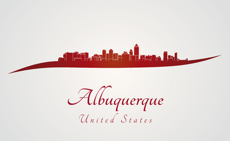Albuquerque skyline in red and gray background in editable vector file Vector
