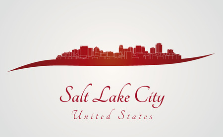salt lake city: Salt Lake City skyline in red and gray background in editable vector file
