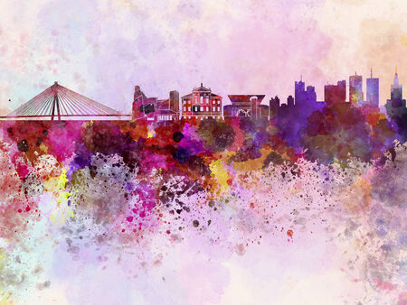 warsaw: Warsaw skyline in watercolor background