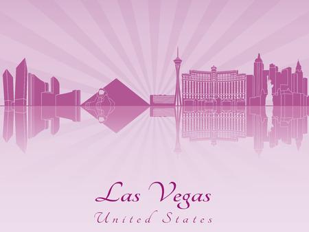 Las Vegas skyline in purple radiant orchid in editable vector file Vector