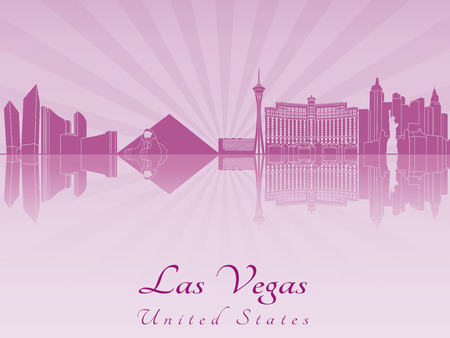 Las Vegas skyline in purple radiant orchid in editable vector file